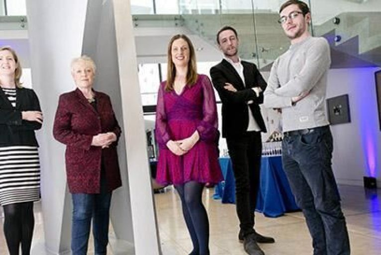 Niamh Townsend, general manager Dell Ireland, Mary McKenna, entrepreneur and angel investor, Pamela Newenham, co founder of Girlcrew, David Maloney, co founder, HireUP, Nathan Doyle, co founder, HireUP. Pic: Fennell Photography