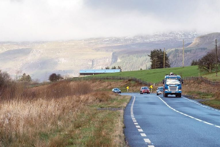 Traffic on the road between Sligo and Fermanagh