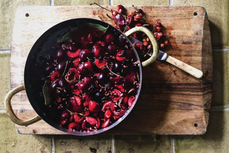 Pickled cherries to be served with the caramelised soy and Demerara-glazed duck breasts