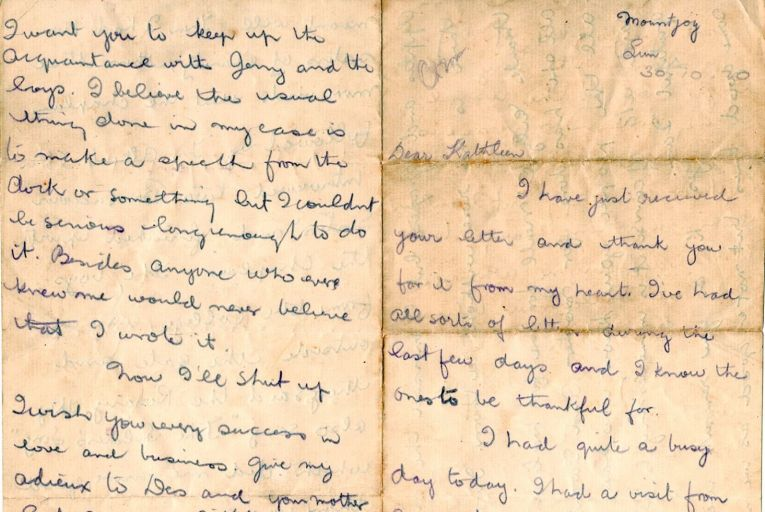 Kevin Barry's last letter to Kathleen Carney, handwritten in 1920 hours before he was executed