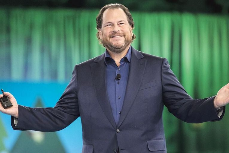 Marc Benioff, chief executive  of Salesforce: feted for his  philanthropy and riding the  crest of a commercial wave Picture: Bloomberg