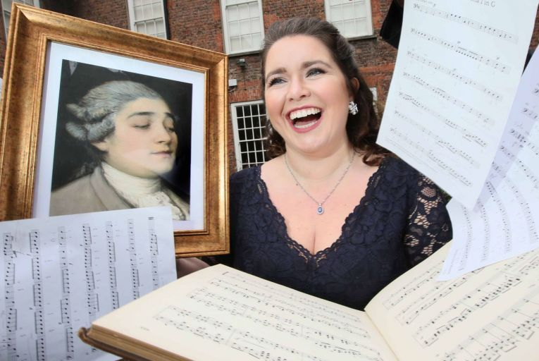 Tara Erraught, mezzo-soprano launches the The Trials of Tenducci in the garden of Marsh\'s Library, Dublin. The disc features songs and music associated with the Italian castrato Giusto Tenducci, an opera superstar of his day, who sang in Dublin in the 1760s. Tenducci created a huge scandal by eloping with his Irish singing student, teenager Dorothea Maunsell, to get married in Cork, resulting in him getting locked up in Cork gaol.  Picture: Mark Stedman