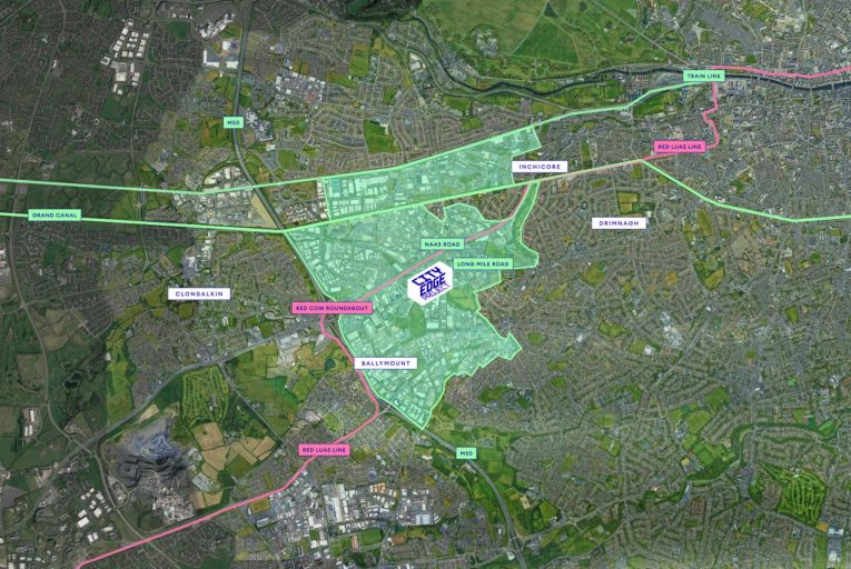 The proposed area for regeneration in west Dublin: it would accommodate 40,000 new homes with district heating schemes, and include parks and green spaces