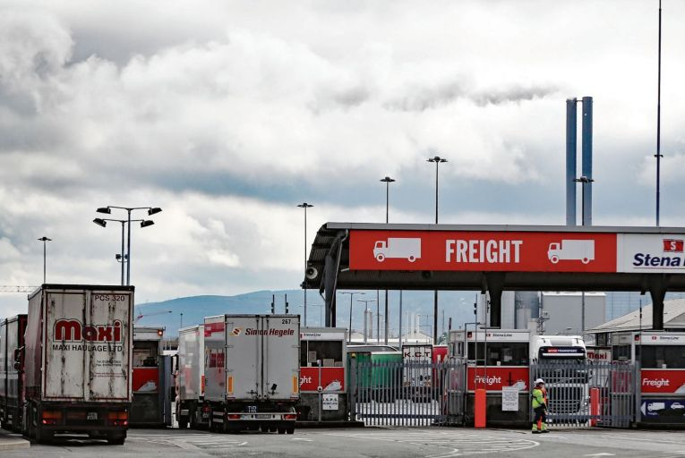 Lorries going through freight checks at Dublin Port: there will now be more inspections and checks than ever before Picture:PA