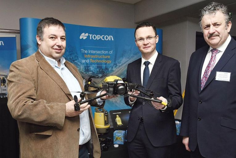 From left: Mark Fagan, business manager, Topcon Ireland; Patrick O\'Donovan, Minister of State for Finance, Public Expenditure and Reform; and Dominic Doheny, president, Construction Industry Federation         Maura Hickey