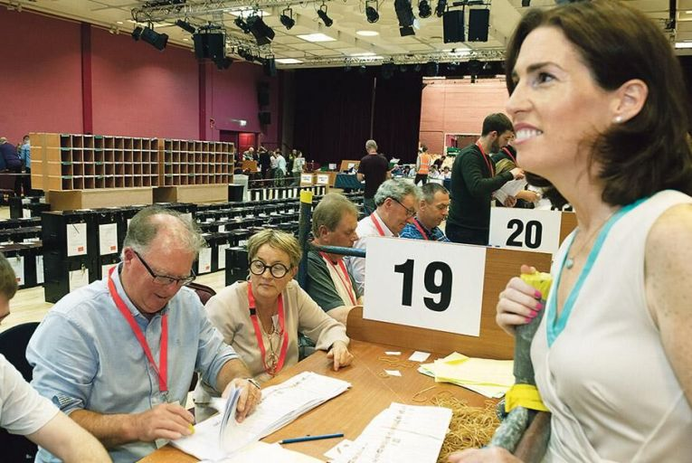 Hildegarde Naughton, Fine Gael TD, at the count centre at Leisureland, Salthill yesterday Pic: Andrew Downes