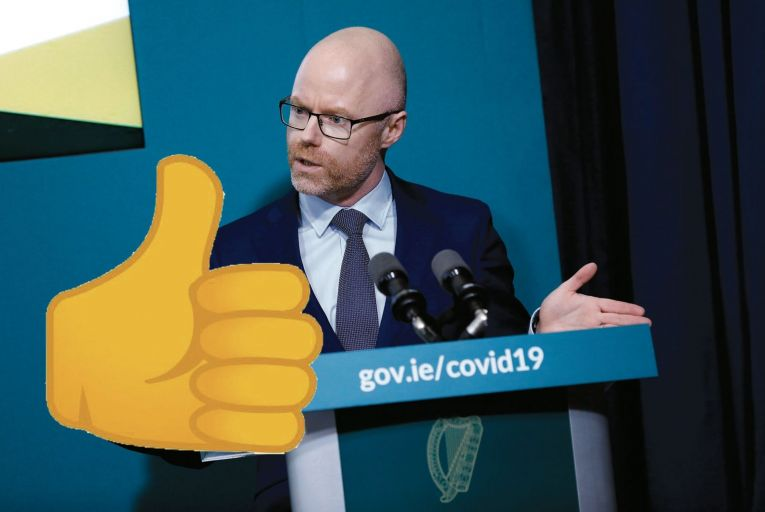 Stephen Donnelly, the Minister for Health, has been trolled on Twitter over his thumbs-up response to a text from Tony Holohan, the Chief Medical Officer, about the rising number of Covid cases in Dublin