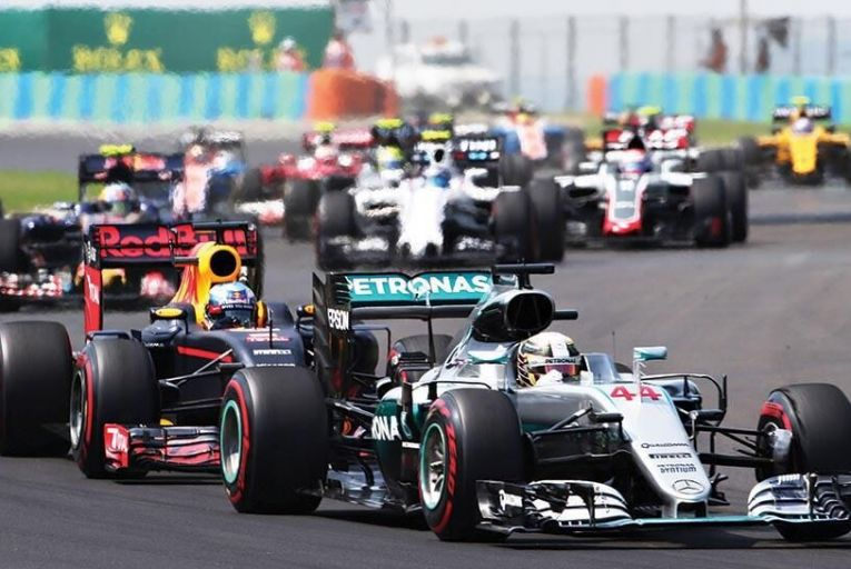 Lewis Hamilton pictured leading the recent Hungarian Grand Prix Pic: Getty