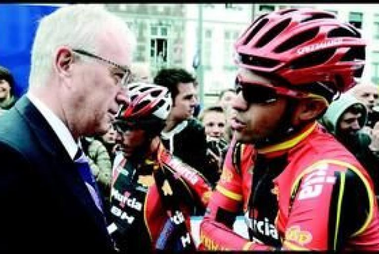 Pat McQuaid with Spanish cyclist Alberto Contador: a big day lies ahead for the beleaguered UCI president. Photo: Getty