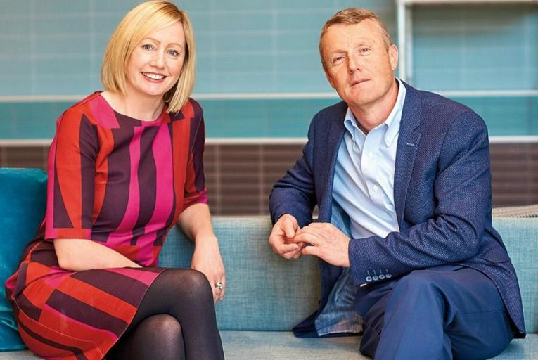 Aisling Curtis, Microsoft and Donal Cullen, Spanish Point Technologies: the music technologies company has been selected as Microsoft Ireland Country Partner of the Year
