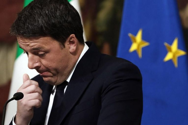 Italian Prime Minister Matteo Renzi gives a speech after the results of the referendum on constitutional reforms at Palazzo Chigi Pic: Getty