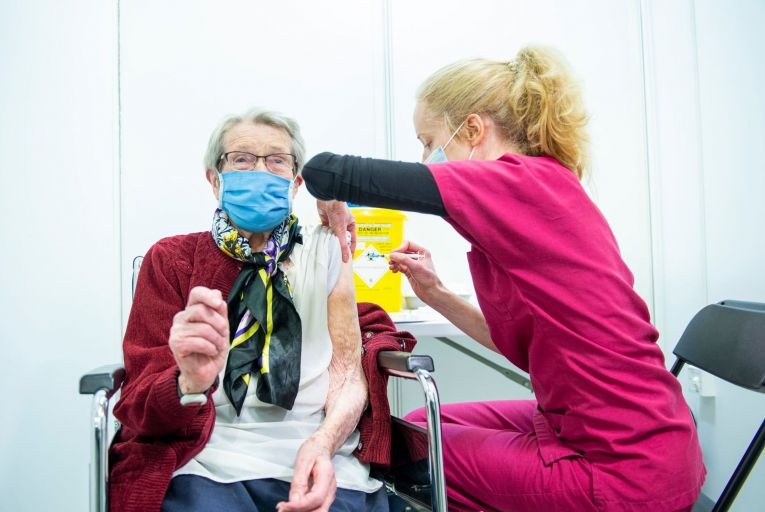 Nora Mcauliffe, 99, from Blarney, gets her vaccine at the Covid-19 vaccination centre at Munster Technological University in Cork. Ireland was one of the last countries in Europe to convene a specific working group to handle the vaccination programme. Picture: Gerard McCarthy
