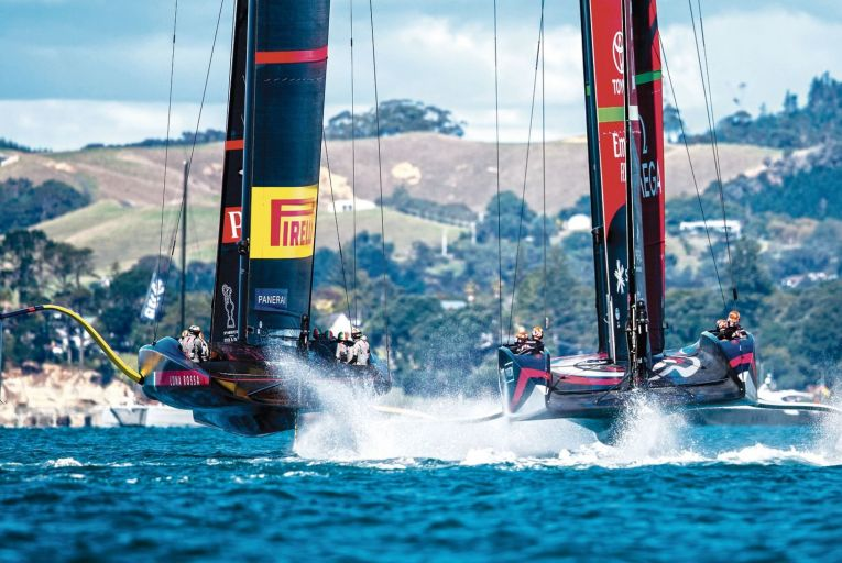 America's Cup: Emirates Team New Zealand competing against Itay's Luna Rossa Prada Pirelli Team in Auckland Harbour in New Zealand in March of this year. Picture: Getty