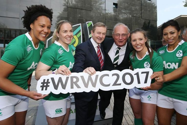 Sophie Spence, Niambh Briggs, An Taoiseach Enda Kenny TD, IRFU President Martin O Sullivan, Claire McLaughlin and Sene Naoupu at the UCD Sports Center in Dublin at the launch of the Womens Rugby New Logo last year Pic: RollingNews.ie