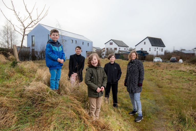 Mick Forde Bradley and Julia Appelin Bradley, with their children, Joar, Aaron and James, at their site in Cloughjordan Ecovillage, Co. Tipperary. Picture: Alan Place