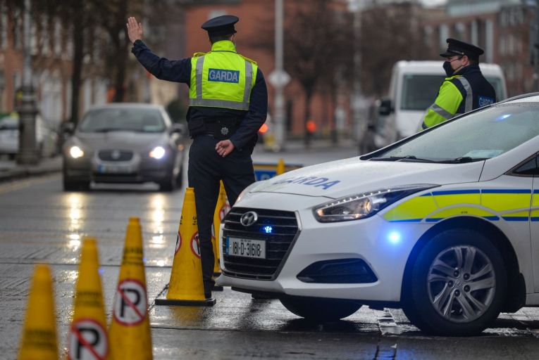 A Garda checkpoint in Dublin this month: gardaí have issued more than 6,000 fines for 'non-essential travel' since the Covid restrictions were introduced. Picture: Artur Widak/NurPhoto