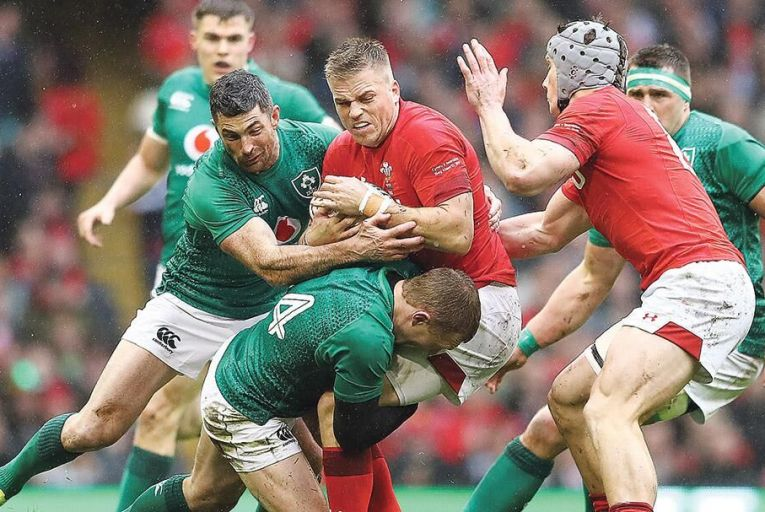 Gareth Anscombe of Wales is tackled by Rob Kearney and Keith Earls of Ireland in the Six Nations earlier this yearPicture: Getty