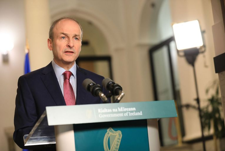 Christmas present trumps the future: Taoiseach Micheál Martin announces the easing of level 5 restrictions on Friday. Picture: Julien Behal
