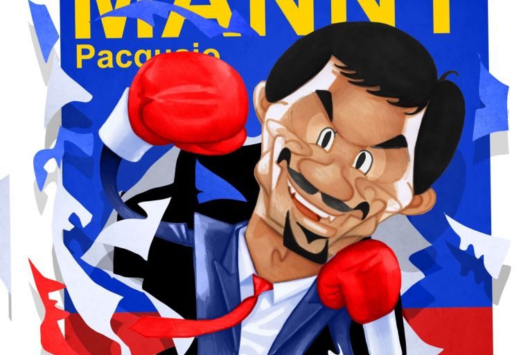 Manny Pacquiao: the superstar boxer also nurses political ambitions. Illustration: Peter Hanan