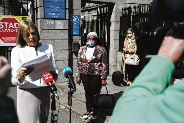 Solicitor Emma Meagher Neville with Ganiyat Kuye from Carrigaline, Co Cork, whose daughter Kameela Kuye won a settlement of €23.5m after suffering brain injuries at birth        Picture: Collins Courts