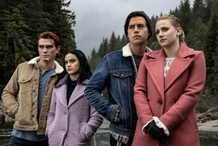 KJ Apa as Archie, Camila Mendes as Veronica, Cole Sprouse as Jughead and Lili Reinhart as Betty in Riverhead