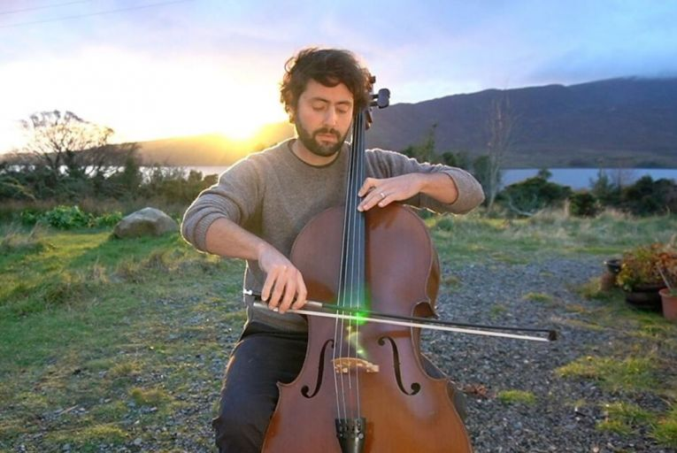 Patrick Dexter, cello player, posts his performances online from outside his home in Co Mayo
