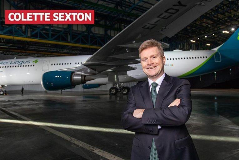 Aer Lingus chief executive Seán Doyle with a new-look plane. Pic: Naoise Culhane
