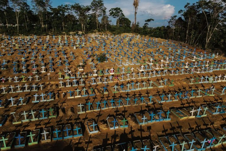 An aerial view of the burial site for victims of Covid-19 in Manaus, in Brazil: a new variant there is causing concern among scientists Picture: Getty