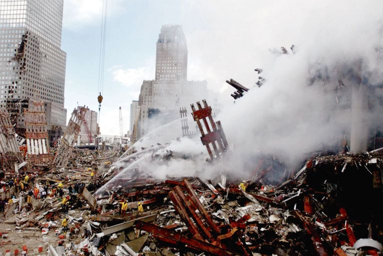 Fires burning in the rubble of the collapsed World Trade Center buildings after the terrorist attacks in New York on September 11, 2001. Picture: Getty