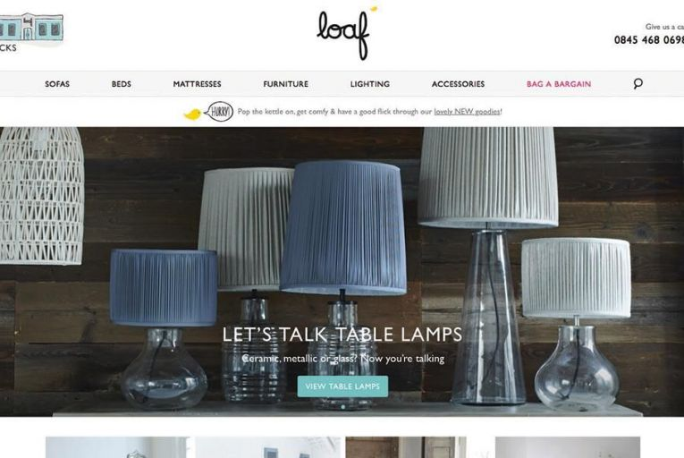A selection of lamps on Loaf.com