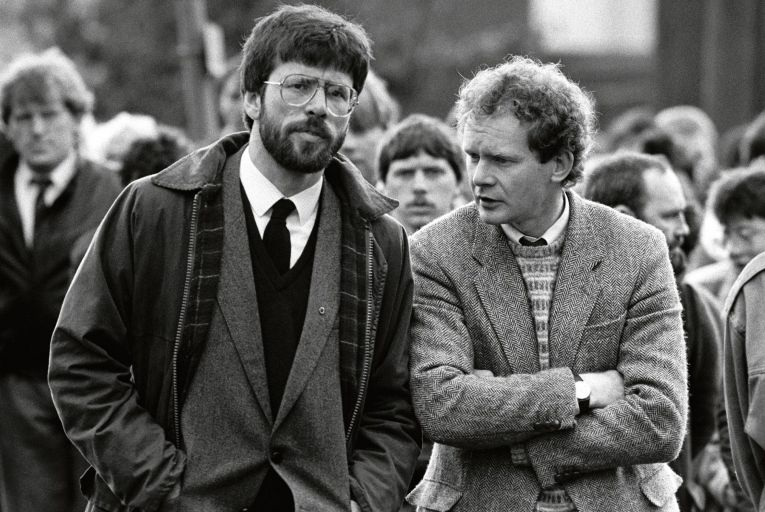 Gerry Adams with Martin McGuinness at the funeral of East Tyrone IRA commander Patrick Kelly, who was killed in the Loughgall massacre in May 1987. Picture: PA