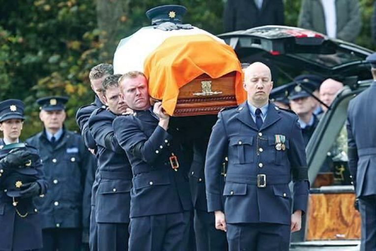 Garda Tony Goldens funeral taking place in Blackrock,  Co Louth, last Thursday Picture: Collins
