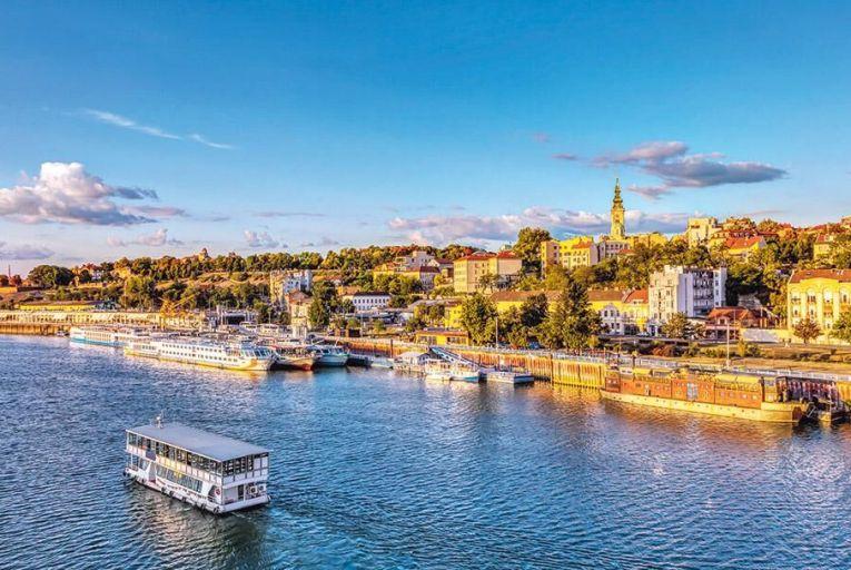 Sunset over Belgrade where the Danube and Sava rivers meet