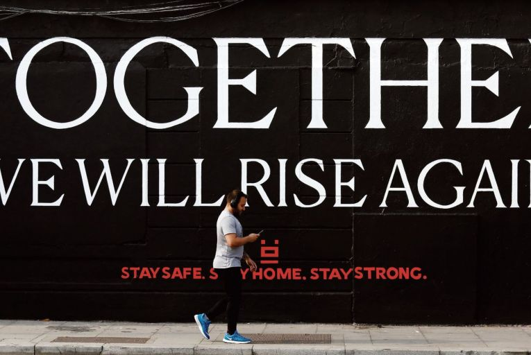 An inspiring mural on Chancery Street in Dublin: positivity will be needed in the face of what is likely to be a severe oncoming financial recession. Picture: RollingNews.ie