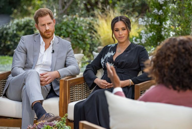 Harry and Meghan during their calm and choreographed interview with Oprah