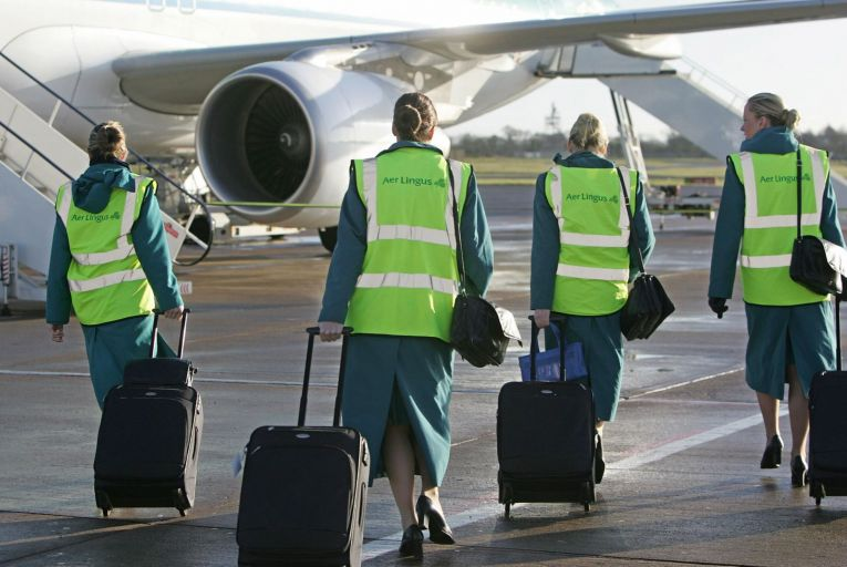 Before closing its base at Shannon, Aer Lingus had put its 81 cabin crew and 41 ground crew there on the pandemic unemployment payment while flights were suspended. Picture: Peter Muhly/AFP