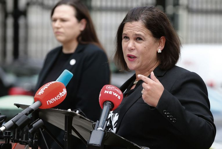 Mary Lou McDonald, the Sinn Féin leader, and, left, Louise O'Reilly, Sinn Féin TD: McDonald criticised the existence of the male-dominated Oireachtas Golf Society which she says she had never heard of before Golfgate. Photo: Sam Boal/RollingNews.ie