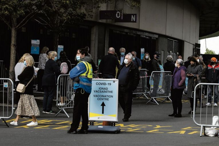 People queue up outside the Covid-19 vaccination centre at the Aviva Stadium. Picture: Fergal Phillips
