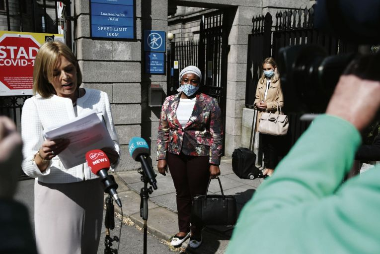Solicitor Emma Meagher Neville with Ganiyat Kuye from Carrigaline, Co Cork, whose daughter Kameela Kuye won a settlement of €23.5m after suffering brain injuries at birth. Picture: Collins Courts