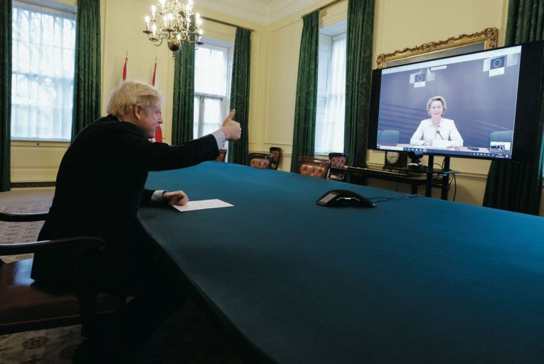 Boris Johnson, British prime minister, speaking to Ursula von der Leyen, President of the European Commission, via video link after completing the Brexit deal Picture: Getty