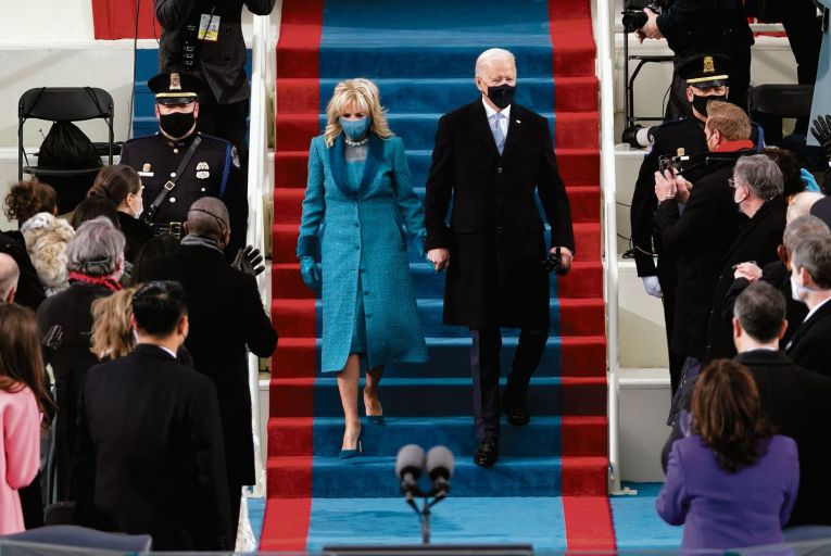 US president Joe Biden and his wife Dr Jill Biden arrive for his inauguration at the US Capitol in Washington, DC Picture: Getty