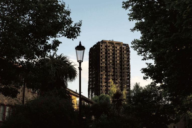 Grenfell Tower in London where 72 people died in a fire in 2017
