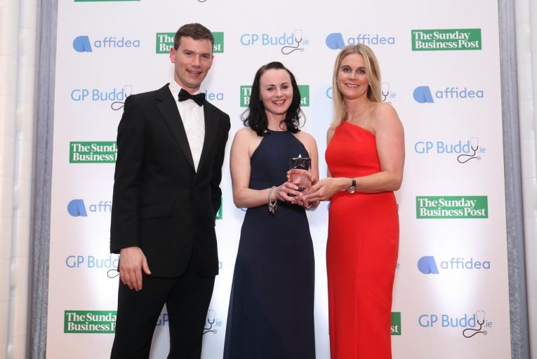 Caption: Dr Eileen O'Connor is presented with the Patients' Choice Award by Joe Newell, CEO, GPBuddy.ie and Karen Walsh, Marketing Manager Hermitage Medical Clinic.