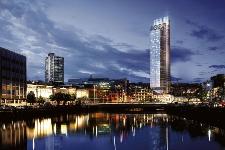 A computer-generated image of the 34-storey tower on the site of the former Port of Cork building on Custom House Quay which will include a five-star 240-bedroom hotel