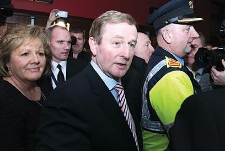 The Taoiseach Enda Kenny, pictured in Castlebar last night, said he was disappointed by Fine Gael\'s loss of seats and that he had a duty to see 'how we can put together a government'  Barry Cronin