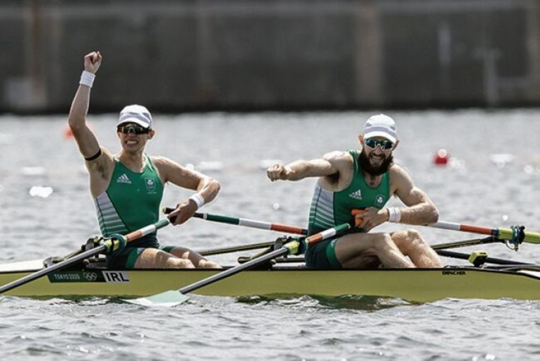 Fintan McCarthy and Paul O'Donovan celebrate their rowing win at the Tokyo Olympics last week. Picture: Inpho