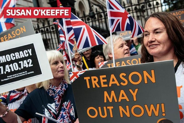 Protesters demonstrate against Theresa May\'s Chequers plan. Pic: Getty