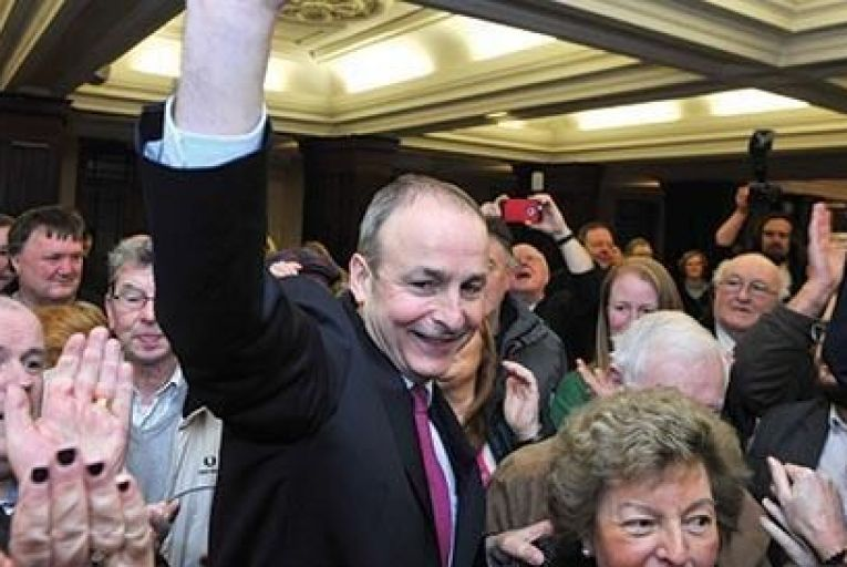 Micheál Martin celebrates victory in Cork South Central, with his party beating all expectationsJohn Allen