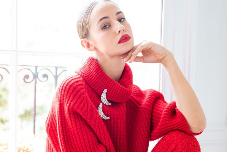 Red Lily lambswool sweater, €595, from Louise Kennedy
