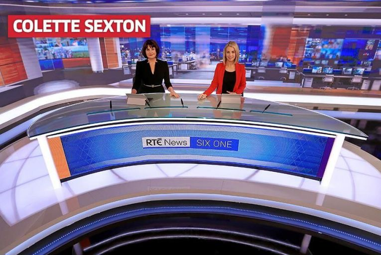 Six One presenters Keelin Shanley and Caitriona Perry in the newly refurbished RTÉ News studio